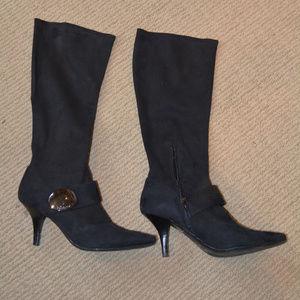 Black Stretch Suede High Heel Boots
